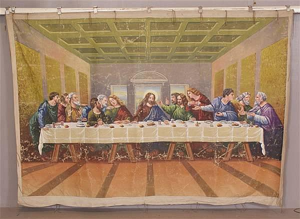 THE LAST SUPPER LARGE PAINTED OIL ON LOOSE CANVAS WALL HANGING