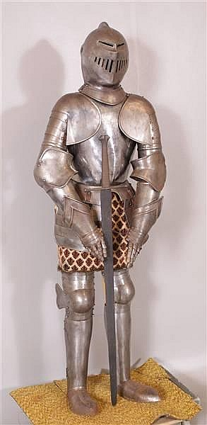 FULL  SUITE OF EARLY ARMOR WITH SWORD POSSIBLY BRITISH MADE VICTORIAN PERIOD