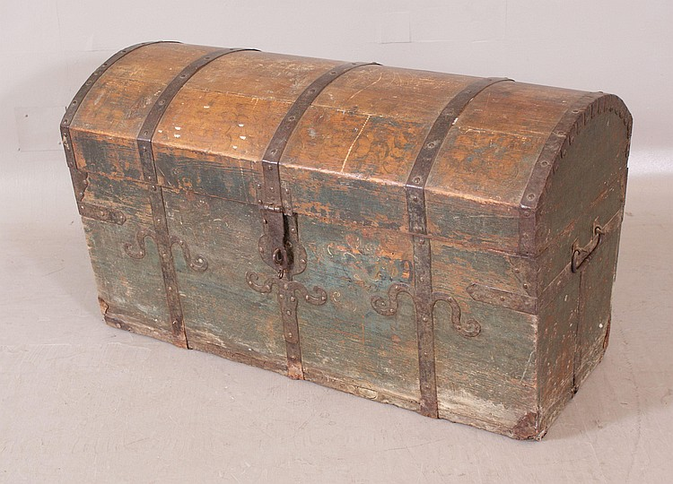 1842 DOME TOP WOODEN TRUNK