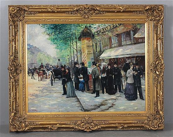 D. CALVERT OIL ON CANVAS FRENCH STREET SCENE IN LARGE GILT FRAME, SIGNED LOWER RIGHT, IMAGE SIZE 47.5