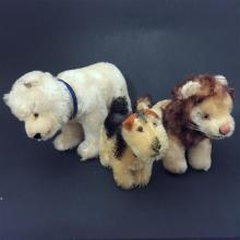 LOT 3 SMALL VINTAGE STEIFF ANIMALS INCLUDING POLAR BEAR, LION AND TERRIER