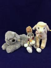 LOT 3 STEIFF ANIMALS INCLUDING LULAC RABBIT, COSY LAMBY AND COSY NOBBY DOG.
