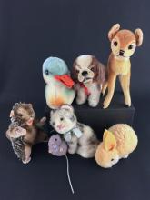 LOT 7 SMALL STEIFF ANIMALS INCLUDING BAMBI, COCKIE, KITTEN, MARMOT, DUCK, WOOLEN RABBIT AND WOOLEN MOUSE.  ONLY COCKIE HAS EAR BUTTON.