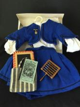 LOT ADDY CLOTHES AND ACCESSORIES INCLUDING BLUE SUIT WITH PIN AND BLOUSE (FIRST VERSION) AND (RETIRED) SCHOOL SACHEL WITH UNION READ...