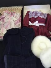 LOT 3 AMERICAN GIRL SAMANTHA OUTFITS INCLUDING BIRTHDAY DRESS, WINTER CAPE WITH FUR HAT AND MUFF AND CRANBERRY HOLIDAY DRESS.