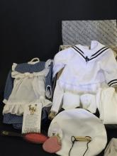 LOT AMERICAN GIRL SAMANTHA CLOTHES AND ACCESSORIES INCLUDING MIDDY SAILOR DRESS WITH TAM, WHISTLE AND BOOTS, PLAY DRESS WITH PINAFORE..