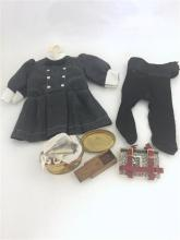 LOT AMERICAN GIRL SAMANTHA ITEMS INCLUDING BUSTER BROWN SCHOOL DRESS, BLACK HAIR RIBBON  AND STOCKINGS, SCHOOL BOOKSTRAP AND SUPPLIE...