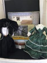 DECORATIVE TRUNK WITH DOLL FASHIONS OF CIVIL WAR AND EDWARDIAN ERAS.  ALSO, 1885 REPLICA BICYCLE (SCALE 1:6) IN BOX.
