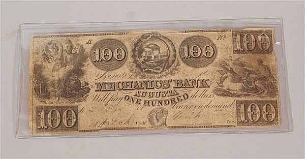 EARLY CURRENCY $100 THE MECHANICS BANK AUGUSTA 1857