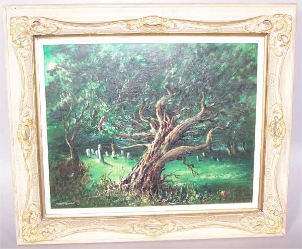 NOLAN PENNELL (1894-1972 COLUMBUS, OH) OIL ON BOARD OLD TREE IN CEMETARY 22 X 17