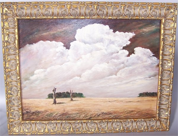 NOLAN PENNELL (1894-1972 COLUMBUS, OH) OIL ON BOARD LANDSCAPE W/FIELD & CLOUDS SIGNED & DATED 1970 29 X 21