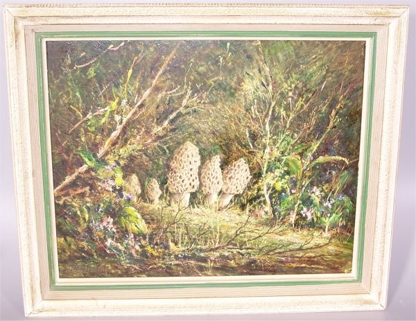 NOLAN PENNELL (1894-1972 COLUMBUS, OH) OIL ON BOARD MUSHROOMS IN WOODS, SIGNED 20 X 15