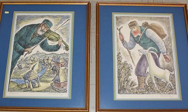 CHAIM GOLDBERG (1890-1942 POLISH) PENCILS SIGNED AND NUMBERED LITHOGRAPHS INCLUDING FIDDLER AND MAN WALKING WITH GOAT, 13