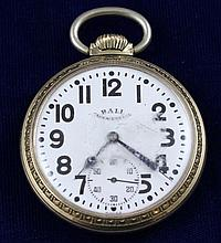 BALL COMMERCIAL #435 10K YELLOW GOLD FILLED OPEN FACE 17 JEWELS POCKET WATCH, 50 MM DIAMETER