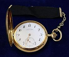 A. LANGE & SOHNE GLASHUTTE DRESDEN 18K YELLOW GOLD HUNTER CASE # 63331 POCKET WATCH WITH BLACK RIBBON FOB, 48 MM DIAMTER