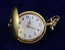 14K YELLOW GOLD HUNTER CASE PENDANT/POCKET WATCH WITH DIAMOND ACCENTED CASE, 27 MM DIAMETER
