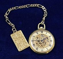 CARAVELLE GOLD TONE OPEN FACE POCKET WATCH WITH CHAIN, 43 MM DIAMETER