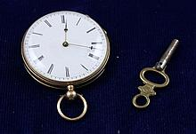 14K YELLOW GOLD OPEN FACE KEY WIND POCKET WATCH WITH KEY, 33 MM DIAMETER