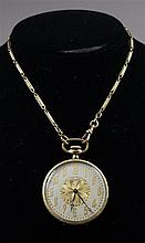 WALTHAM YELLOW GOLD FILLED OPEN FACE 17 JEWELS #22888824 POCKET WATCH WITH CHAIN, 44 MM DIAMTER