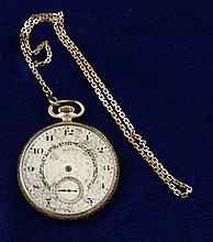 ELGIN GOLD TONE OPEN FACE17 JEWELS #24600683 POCKET WATCH AND CHAIN, 43 MM DIAMTER