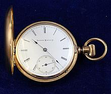 ILLNOIS GOLD TONE HUNTER CASE  #105167 POCKET WATCH, 42 MM DIAMETER