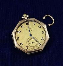 WALTHAM 14K YELLOW GOLD OPEN FACE SWING OUT 15 JEWELS#23346740 POCKET WATCH, 40 MM DIAMETER
