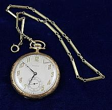 WALTHAM 14K YELLOW GOLD OPEN FACE SWING OUT 17 JEWELS #26809278 POCKET WATCH WITH CHAIN, 43 MM DIAMETER