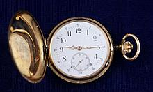 14K YELLOW GOLD ANGRE LIGNE DROITE 15 RUBIES NO. 84840 HUNTER CASE POCKET WATCH, 38 MM DIAMETER
