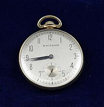 WALTHAM 14K YELLOW GOLD FILLED COLONIAL WALTHAM OPEN FACE 17 JEWELS #32395508 POCKET WATCH, 43 MM DIAMETER