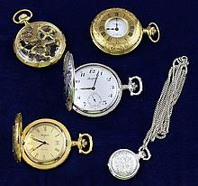 FIVE POCKET AND PENDANT WATCHES INCLUDING SKELETON CASE