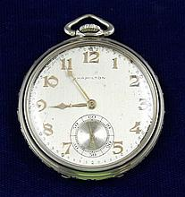 HAMILTON MASTERPIECE 18K WHITE GOLD OPEN FACE 23 JEWELS 3012282 POCKET WATCH, 45 MM DIAMETER