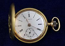 18K YELLOW GOLD LONGINES GRAND PRIX PARIS 1900 HUNTER CASE #572807 POCKET WATCH WITH DIAMOND ACCENT FLORAL DESIGN, 30 MM DIAMETER