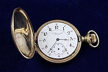 THEO BROUWER & SONS BROOKLYN GOLD TONE HUNTER CASE 17 JEWELS #1309659 POCKET WATCH, 51 MM DIAMETER