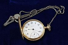 14K YELLOW GOLD WALTHAM P S BARTLETT HUNTER CASE 17 JEWELS #13010154 POCKET WATCH WITH SILVERTONE CHAIN, 50 MM DIAMETER