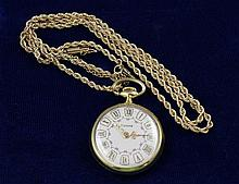 TIDANA GOLD TONE PENDANT WATCH WITH 14K YELLOW GOLD ROPE CHAIN NECKLACE, 12.5 GRAMS