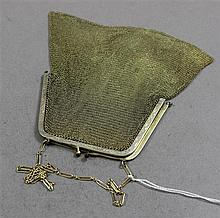 VINTAGE GOLD TONE MESH PURSE, HINGES BROKEN SMALL HOLE IN MESH NEAR HINGE, 5 3/4