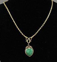 STAMPED ASIAN CHARACTER YELLOW GOLD CHAIN WITH JADE PENDANT, 18 1/2