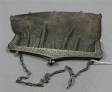 VINTAGE SILVERTONE MESH PURSE WITH OPENWORK FRAME,  8