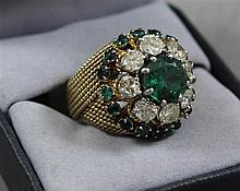 UNMARKED YELLOW GOLD GREEN STONE AND 8 DIAMOND APPROX 1.84 CT TW FASHION RING, SIZE 5 1/2,  TESTS 18K, 16.5 GRAMS TOTAL, GREEN STONE...