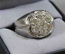 STAMPED 14K WHITE GOLD KENTUCKY CLUSTER 7 ROUND BRILLIANT DIAMOND APPROX 1.54 CT TW MENS RING, SIZE 10,  18.6 GRAMS TOTAL, REPLACEME...