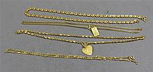 FOUR STAMPED 999 YELLOW GOLD TONE CHAIN NECKLACES AND TWO PENDANTS, 17