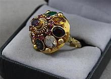 STAMPED 14K YELLOW GOLD MULTI-GEMSTONE DOMED STYLE FASHION RING, SIZE 7 1/2,  7.7 GRAMS TOTAL