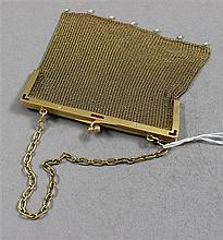 VINTAGE STAMPED 585, 14K YELLOW GOLD MESH PURSE WITH DIAMOND, RUBY AND PEARL ACCENTED FRAME, 4 1/2