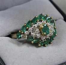 STAMPED 10K YELLOW GOLD EMERALD AND DIAMOND FASHION RING, SIZE 8 1/2,  4.8 GRAMS TOTAL