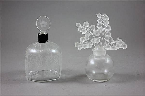 "(2) GLASS COLOGNE BOTTLES, ONE MARKED LALIQUE, 4 1/2"" - 4 3/4""H"