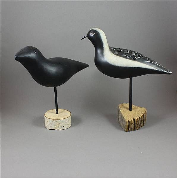 (2) MODERN MASON FACTORY DECOY CO, A-1 CROW AND BLACK BELLIED PLOVER