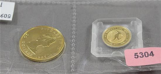 (2) 1991 AUSTRALIAN 10 OZ . 999 GOLD PROOF 1.57g, 1989 CANADIAN 20 DOLLAR 1/2 OZ .999 GOLD MAPLE LEAF PROOF