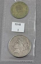 1923 PEACE SILVER DOLLAR AND 1980 KENYA 10 CENT