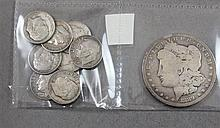 1889 O MORGAN SILVER DOLLAR AND (9) ROOSEVELT SILVER DIMES