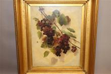 E. B. DUFFEY (AMERICAN 1838-1898) OIL ON CANVAS GRAPE CLUSTER STILL LIFE WITH FLY, SIGNED LOWER LEFT DATED 1858, OVERALL SIZE 25 1/2...